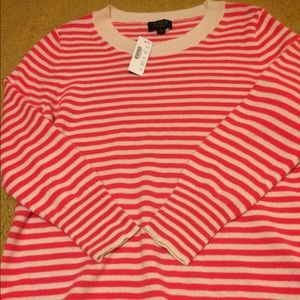 JCrew 100% Cashmere Sweater in Vibrant Pink Stripe
